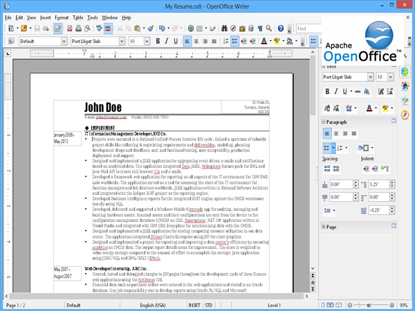 Open office writer dans la box - Traitement de texte open office gratuit ...